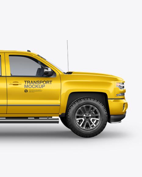 Download FullSize Pickup Truck Side View PSD Mockup