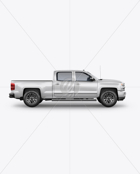 Full-Size Pickup Truck Mockup - Side View