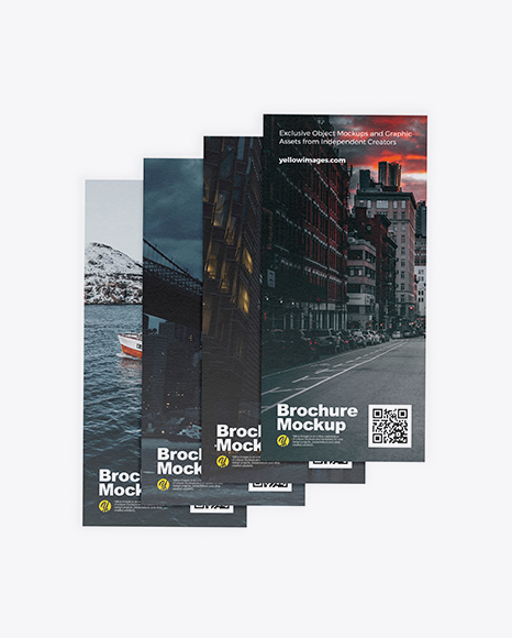 Four Textured Brochures Mockup