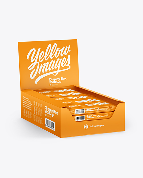 Download Glossy Display Box with Snacks PSD Mockup
