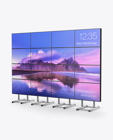 Download LED Video Wall Half Side View PSD Mockup