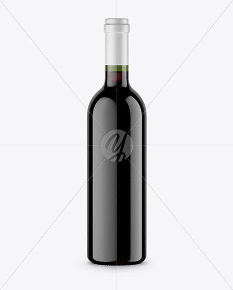 Green Glass Wine Bottle Mockup