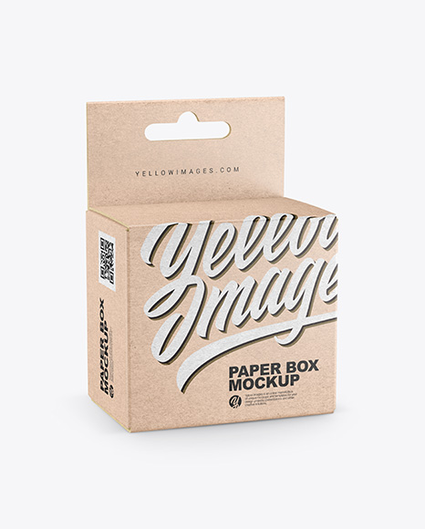 Download Kraft Paper Box w Hang Tab PSD Mockup