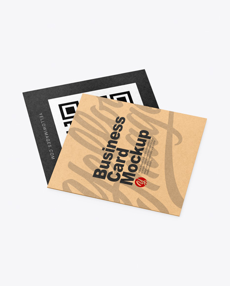 Download Two Kraft Business Cards PSD Mockup