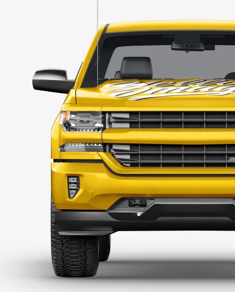 Download FullSize Pickup Truck Front View PSD Mockup