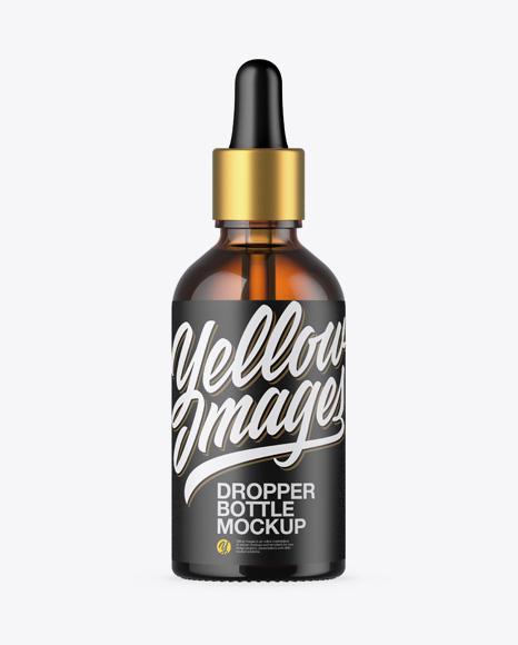 Download Amber Glass Dropper Bottle PSD Mockup