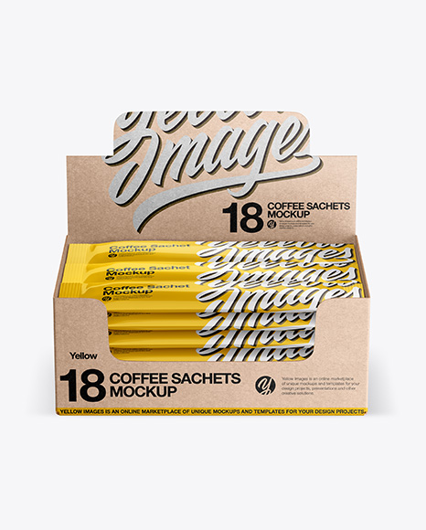 Download 18 Kraft Coffee Sachets Box PSD Mockup
