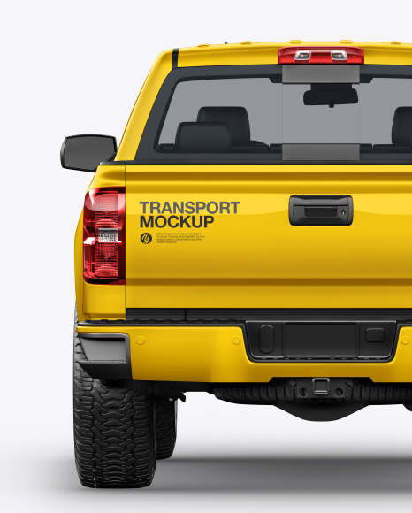 Download FullSize Pickup Truck Back View PSD Mockup