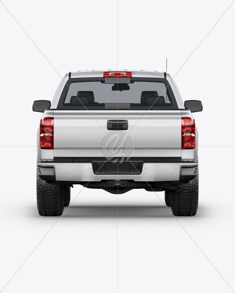 Full-Size Pickup Truck Mockup - Back View