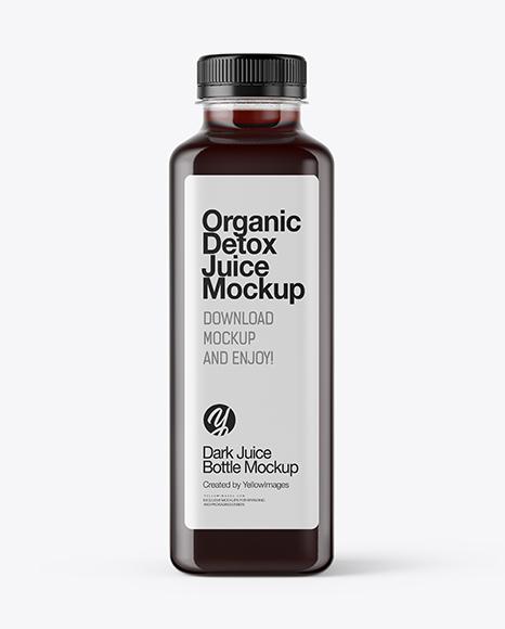 Download Square Dark Juice Bottle PSD Mockup