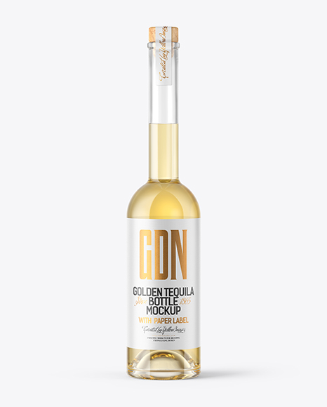 Download Golden Tequila Bottle with Wooden Cap PSD Mockup