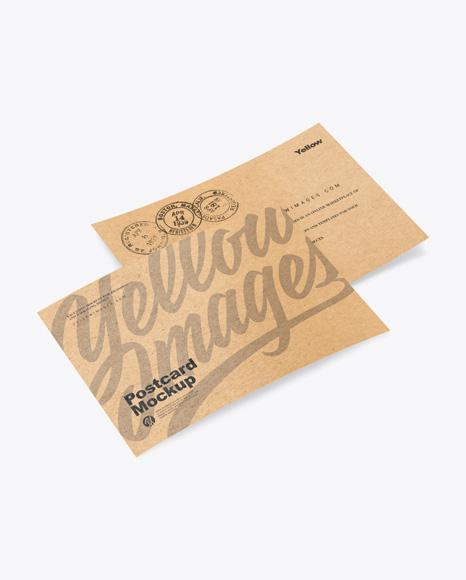 Download Kraft Paper Postcards PSD Mockup