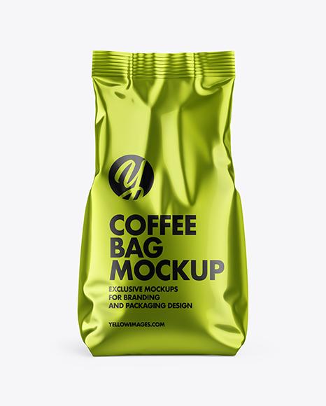 Download Metallic Coffee Bag PSD Mockup