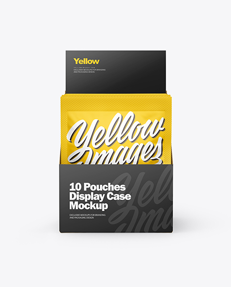 10 Pouches Display Box Mockup