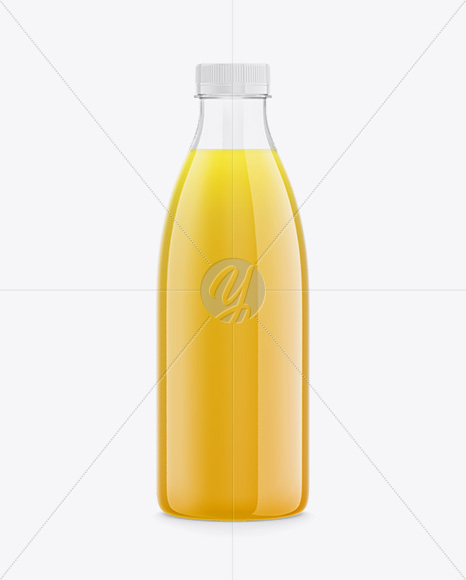Clear Plastic Bottle with Orange Juice Mockup