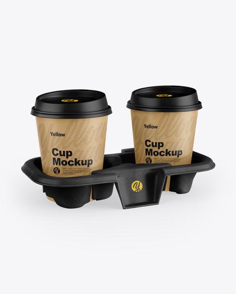 Kraft Holder with Coffee Cups Mockup