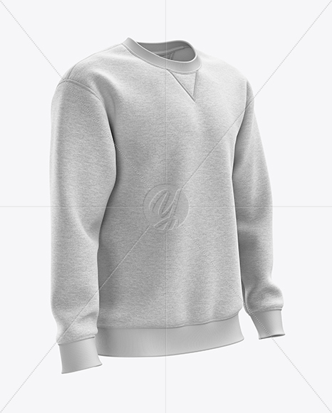 Men's Heather Heavyweight Sweatshirt mockup (Right Half Side View)