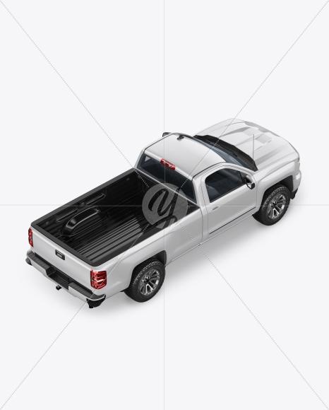 Full-Size Pickup Truck Mockup - Back Half Side View (High-Angle Shot) - Yellowimages Mockups