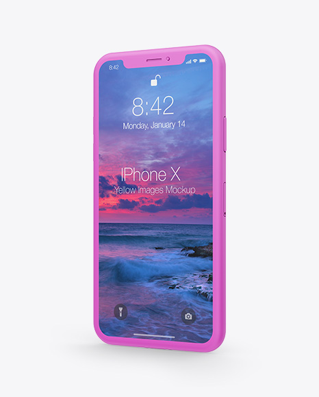 Clay Apple iPhone X Mockup - Half Side View