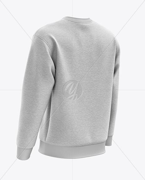 Men's Heather Midweight Sweatshirt mockup (Back Half Side View)