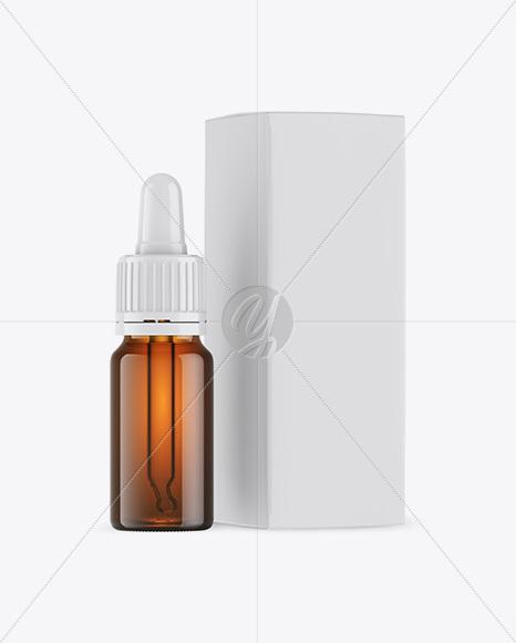 Amber Dropper Bottle w/ Box Mockup