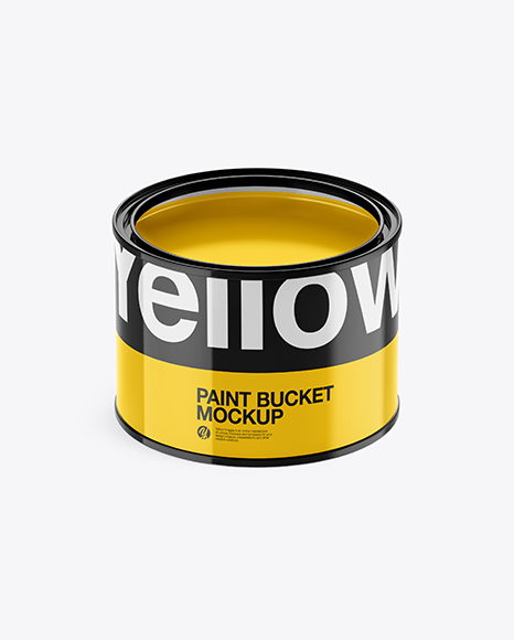 Download Opened Glossy Paint Bucket PSD Mockup