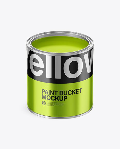 Download Opened Metallic Paint Bucket PSD Mockup