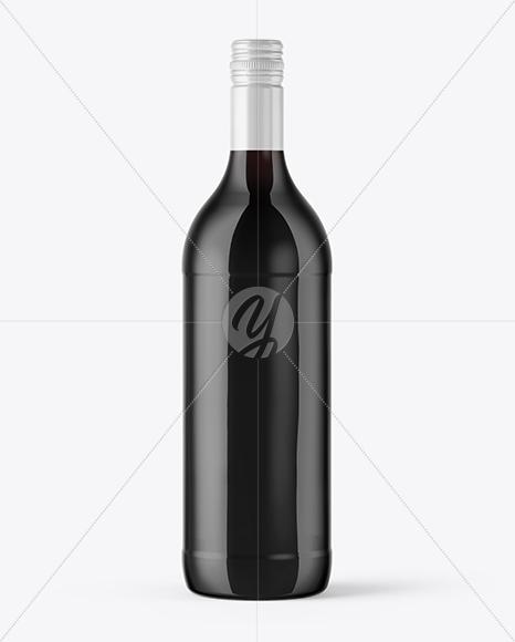 Dark Amber Glass Wine Bottle Mockup