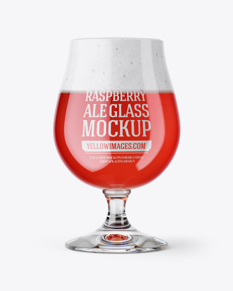 Tulip Glass With Raspberry Ale Mockup