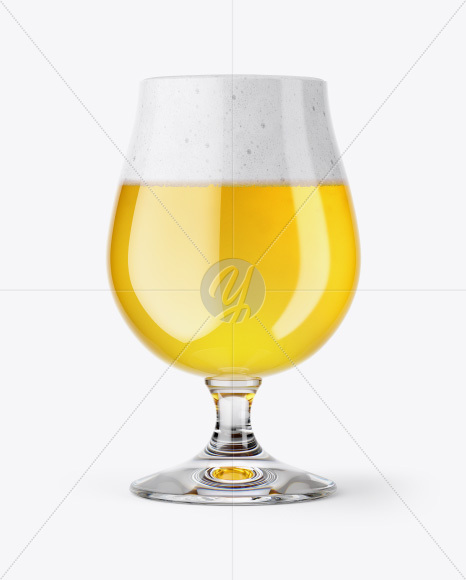 Tulip Glass With Saison Ale Mockup