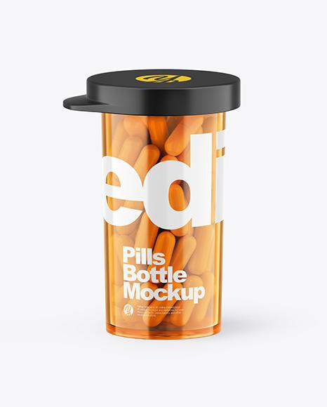 Orange Pills Bottle Mockup