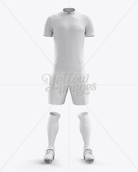 Download Mens Full Soccer Kit With Lace Up Jersey Mockup Hero Shot Yellow Images