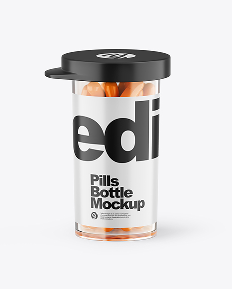 Clear Bottle With Orange Pills Mockup