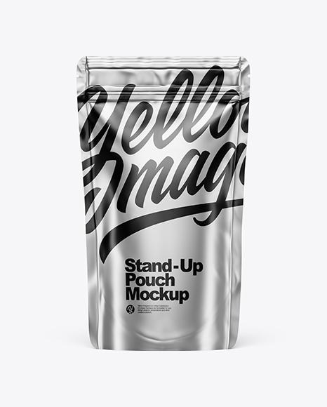 Metallic Stand Up Pouch W/ Zipper Mockup