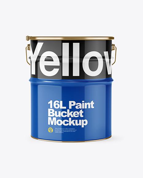 16L Glossy Paint Bucket Mockup