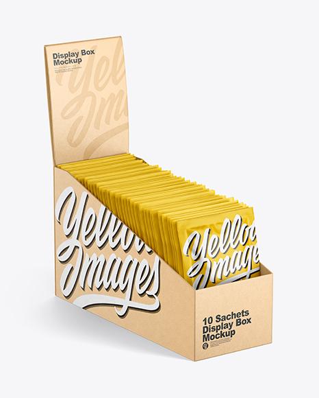 Kraft Display Box W Sachets Mockup In Box Mockups On Yellow