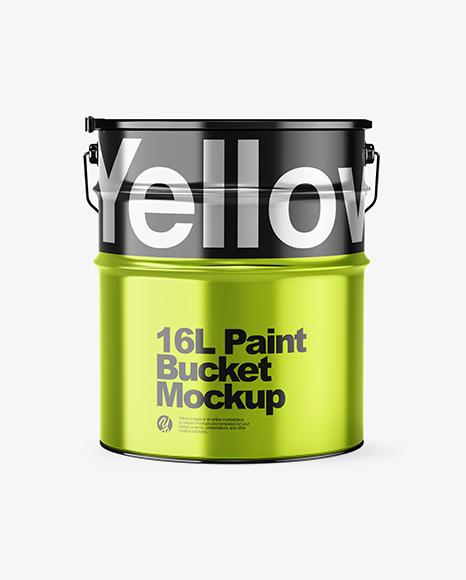 16L Metallic Paint Bucket Mockup