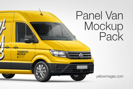 Download Panel Van Mockup Pack In Handpicked Sets Of Vehicles On Yellow Images Creative Store Yellowimages Mockups