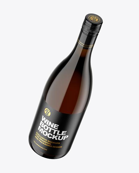 Download Amber Glass Wine Bottle PSD Mockup