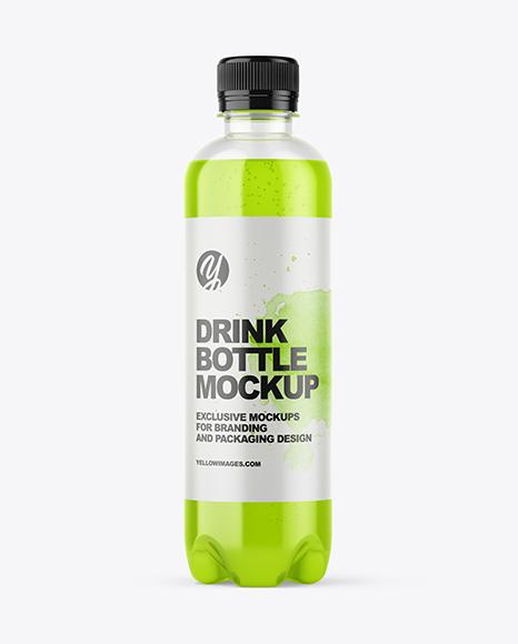 Download 400ml Plastic Drink Bottle PSD Mockup