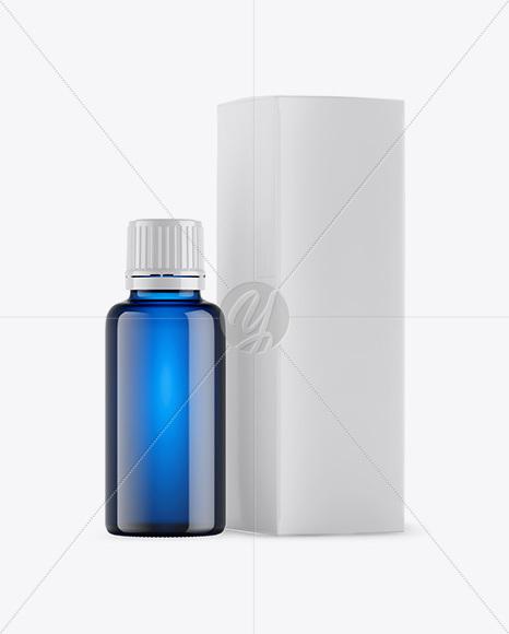 Blue Glass Bottle w/ Box Mockup