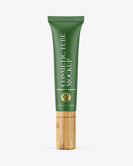 Download Matte Tube With Bamboo Cap PSD Mockup
