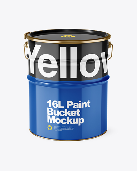 Download 16L Glossy Paint Bucket PSD Mockup