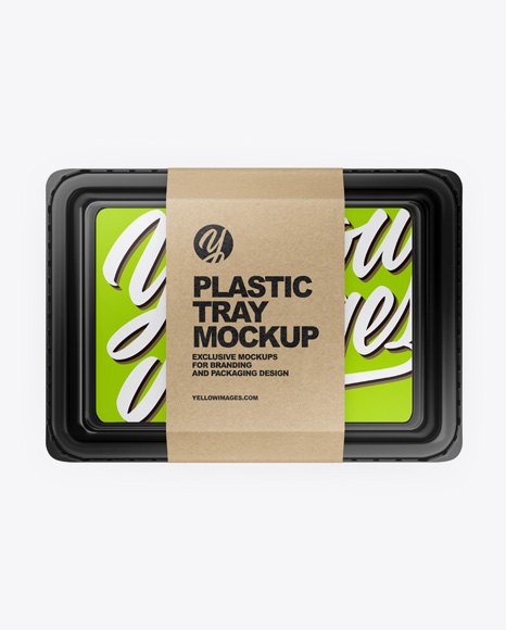 Download Plastic Tray with Paper Label PSD Mockup