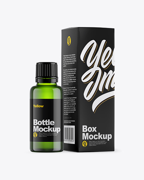Download Green Glass Bottle w Box PSD Mockup