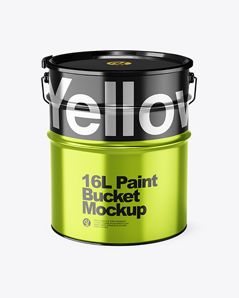 Download 16L Metallic Paint Bucket PSD Mockup