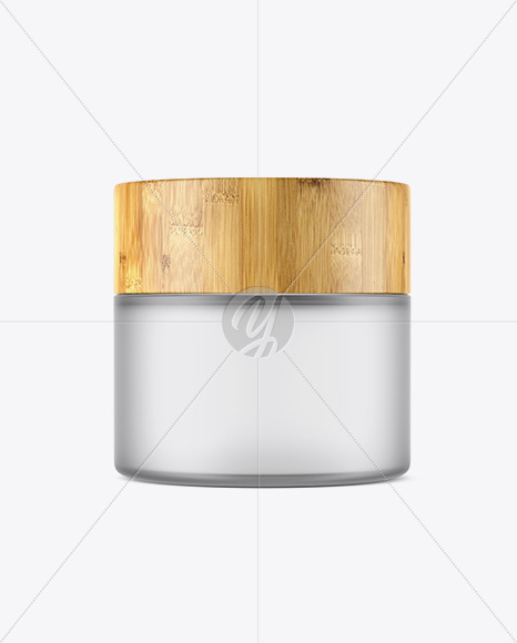 Frosted Glass Jar W/ Bamboo Lid Mockup