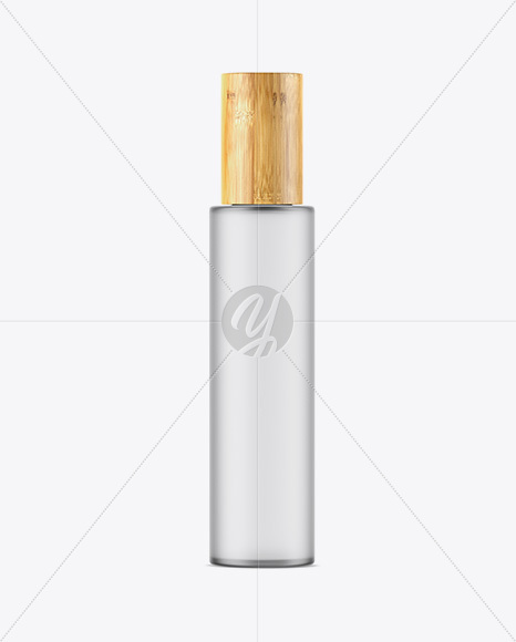 Frosted Glass Bottle W/ Bamboo Cap Mockup