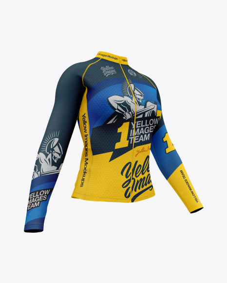 Download Women`s Cycling Jersey Half Side View PSD Mockup