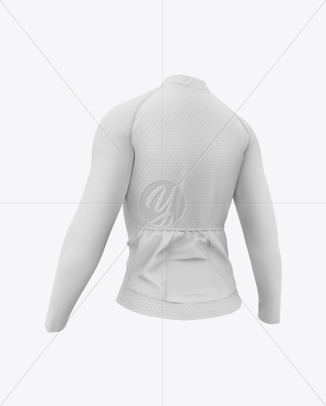 Women`s Cycling Jersey Mockup - Back Half Side View